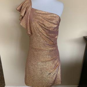 Metallic Gold Pebbled One Shoulder Formal Dress